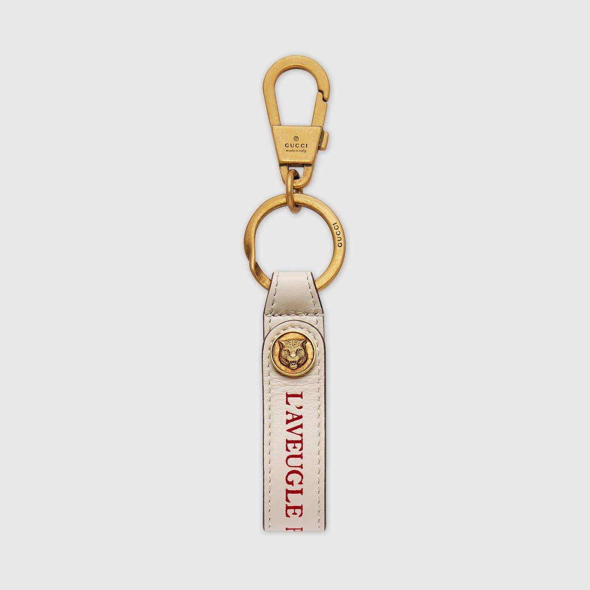 3283f739495 GUCCI Leather key ring - white leather.  gucci