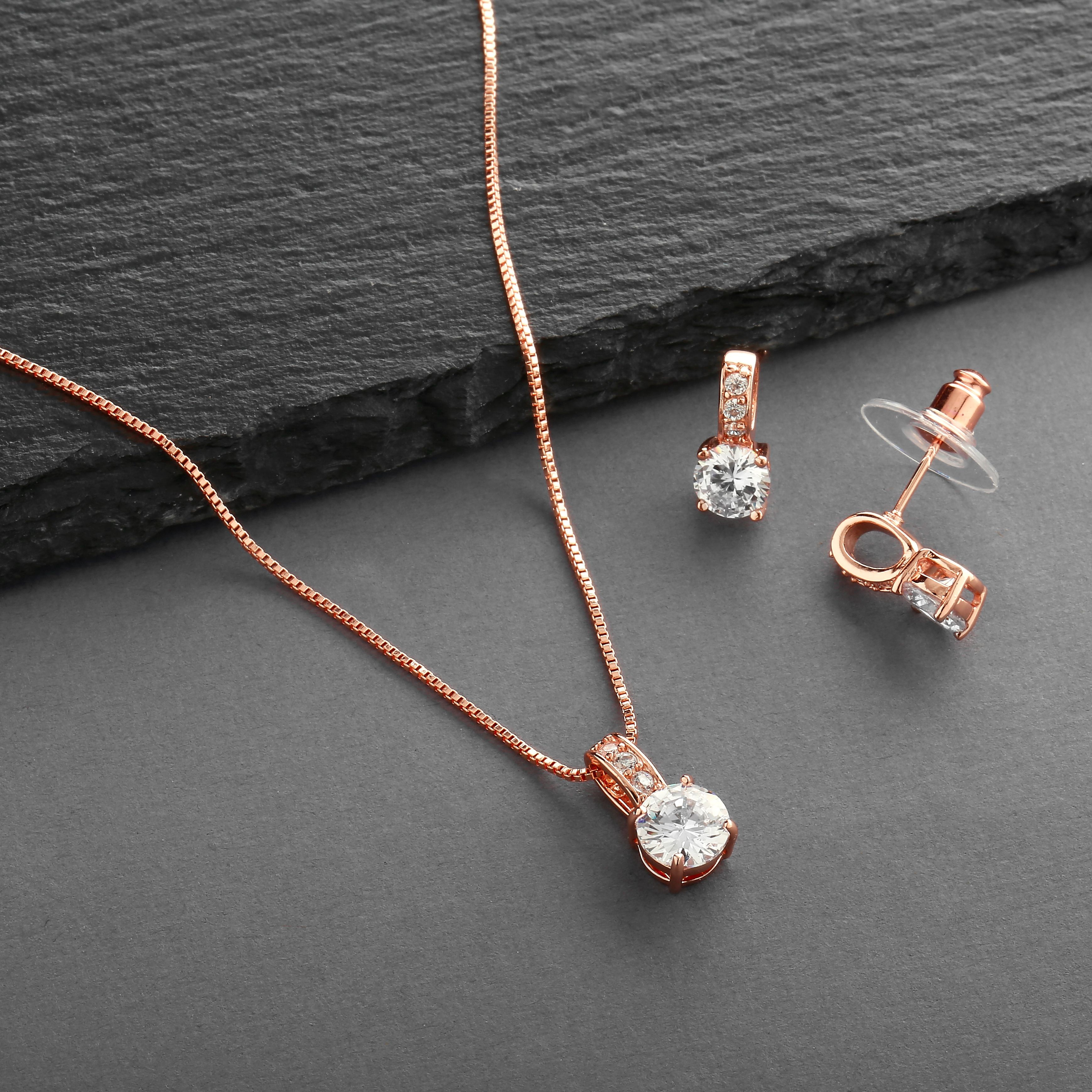 b682f1b827ed Mariell Ultra Dainty 10.5mm Cubic Zirconia Round Halo Necklace and Stud  Earrings Set Plated in 14K Gold in 2019