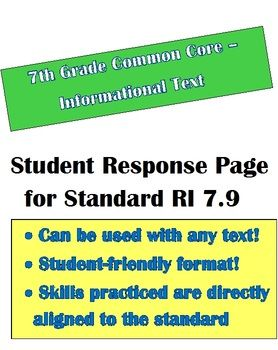 Common Core Informational Text: Student Response Page for  RI 7.9 - 7th Grade English Language Arts, Tools for Common Core, Informational Text Asse…