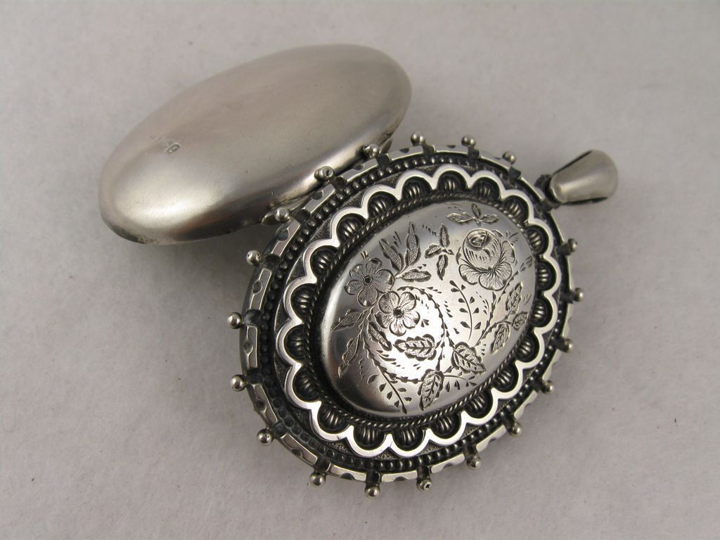Large Antique Victorian Silver 'Rose' Locket - Full English Hallmarks from blackwicks on Ruby Lane