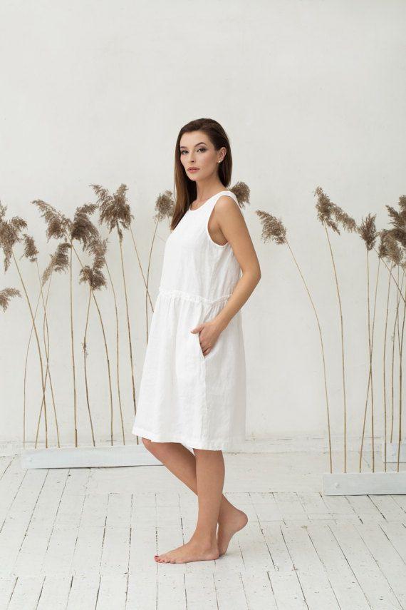 445d7b0539 Off white linen dress. Oversized loose fit linen by MagicLinen