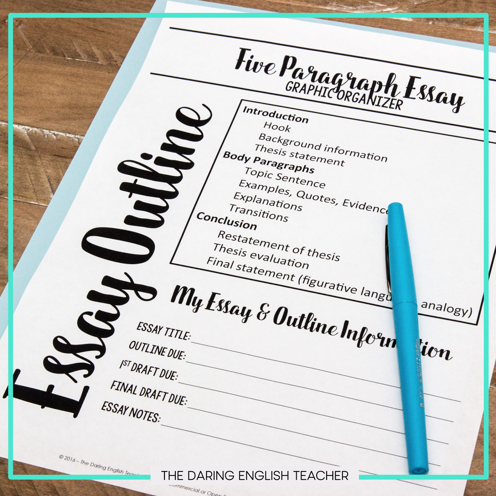 Teaching The Essay Outline