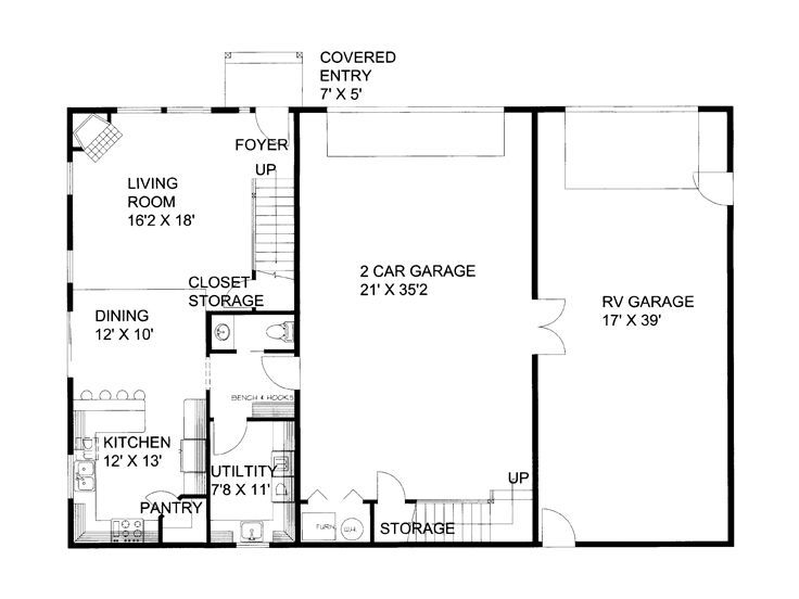 RV Garage Apartment, 012G-0052 1st Floor Plan | Camper (RV ...