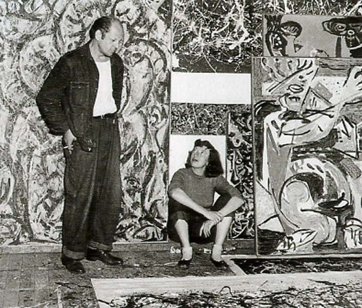 Jackson Pollock and Lee Krasner in front of his work, ca. 1950 ...