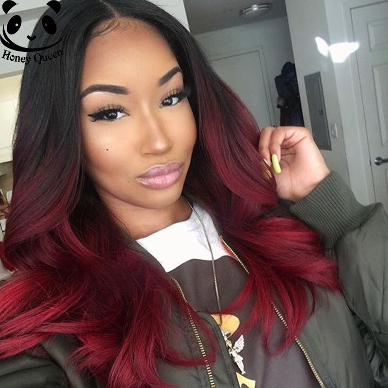 131.84$  Buy here - http://alixcu.worldwells.pw/go.php?t=32651341266 - 7A Ombre Lace Wig Full Lace Human Hair Wigs For Black Women Brazilian Ombre Lace Front Wigs 1B/Burgundy Body Wave Wavy Wig 131.84$