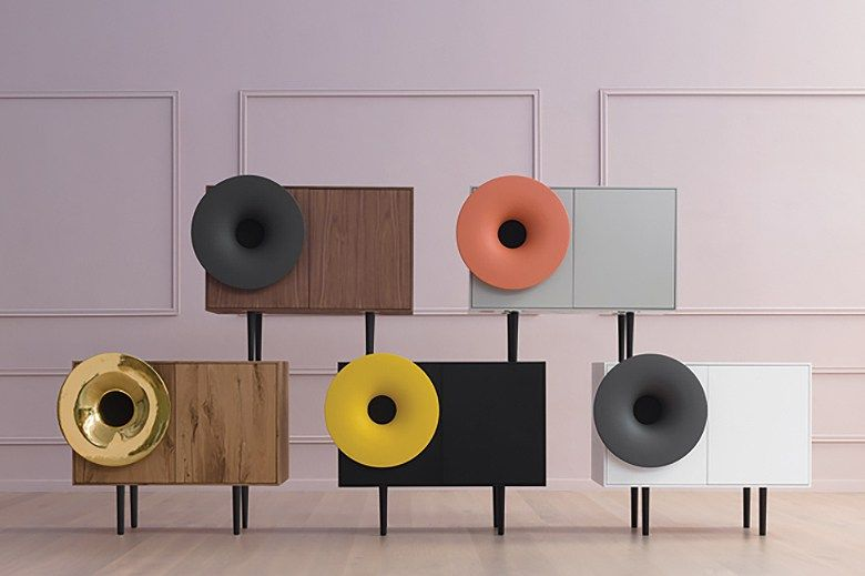 """caruso"""" cabinet speakers provide a nostalgic aesthetic with a"""