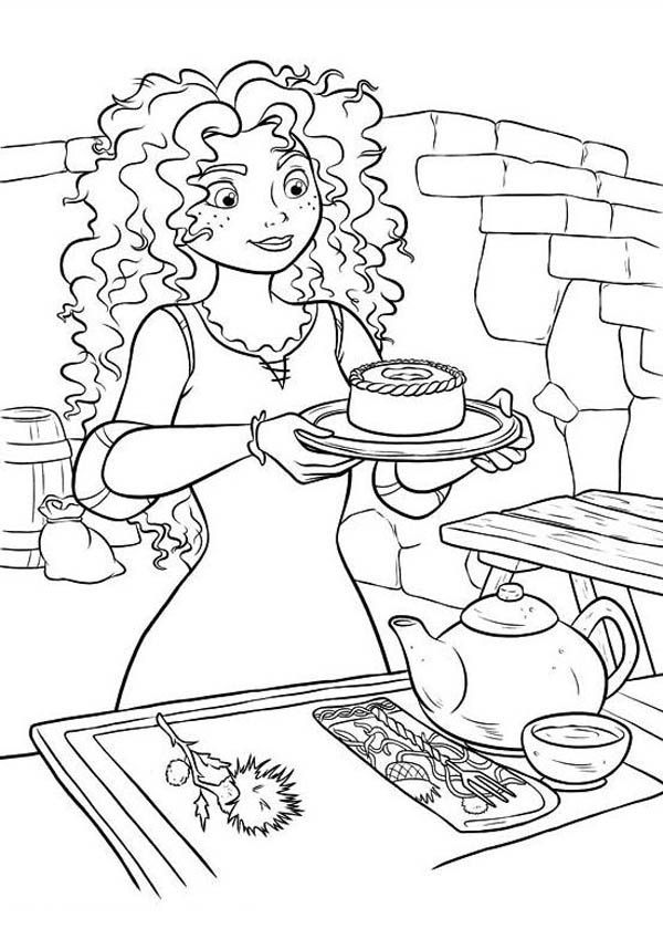 brave merida serving tea in disney brave coloring page