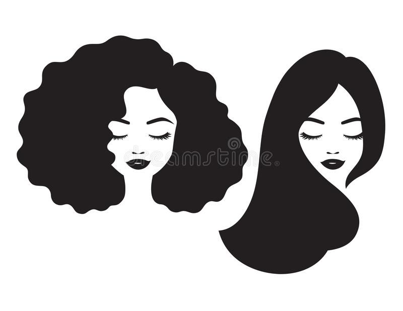 Beautiful Woman Face And Hair Silhouette Vector Illustration Stock Illustration Woman Face Silhouette Woman Face Vector Illustration