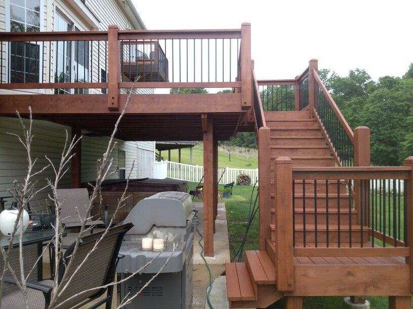 Cedar Deck After Stained Using Sherwin Williams Deckscapes Waterborne Semi Transparent Stain Staining Deck Deck Stain Colors Cedar Deck