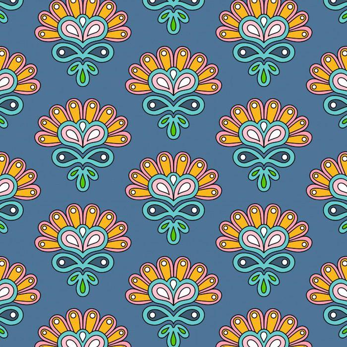 Paisley Muster Blumen Blumchen Von Der Fummelhummel Auf Stoffn De Stoffn Blau Bunt Retro Madchen Kinder Tapete Stoffdesig Stoff Design Rosa Turkis Retro Muster