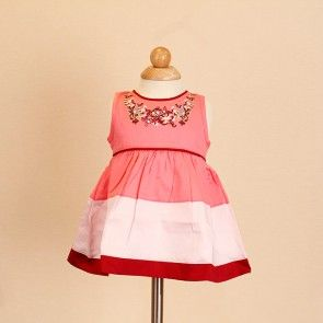 Jayden & Co Red Floral Embroidery Baby Dress [Mix 3 For RM 100]
