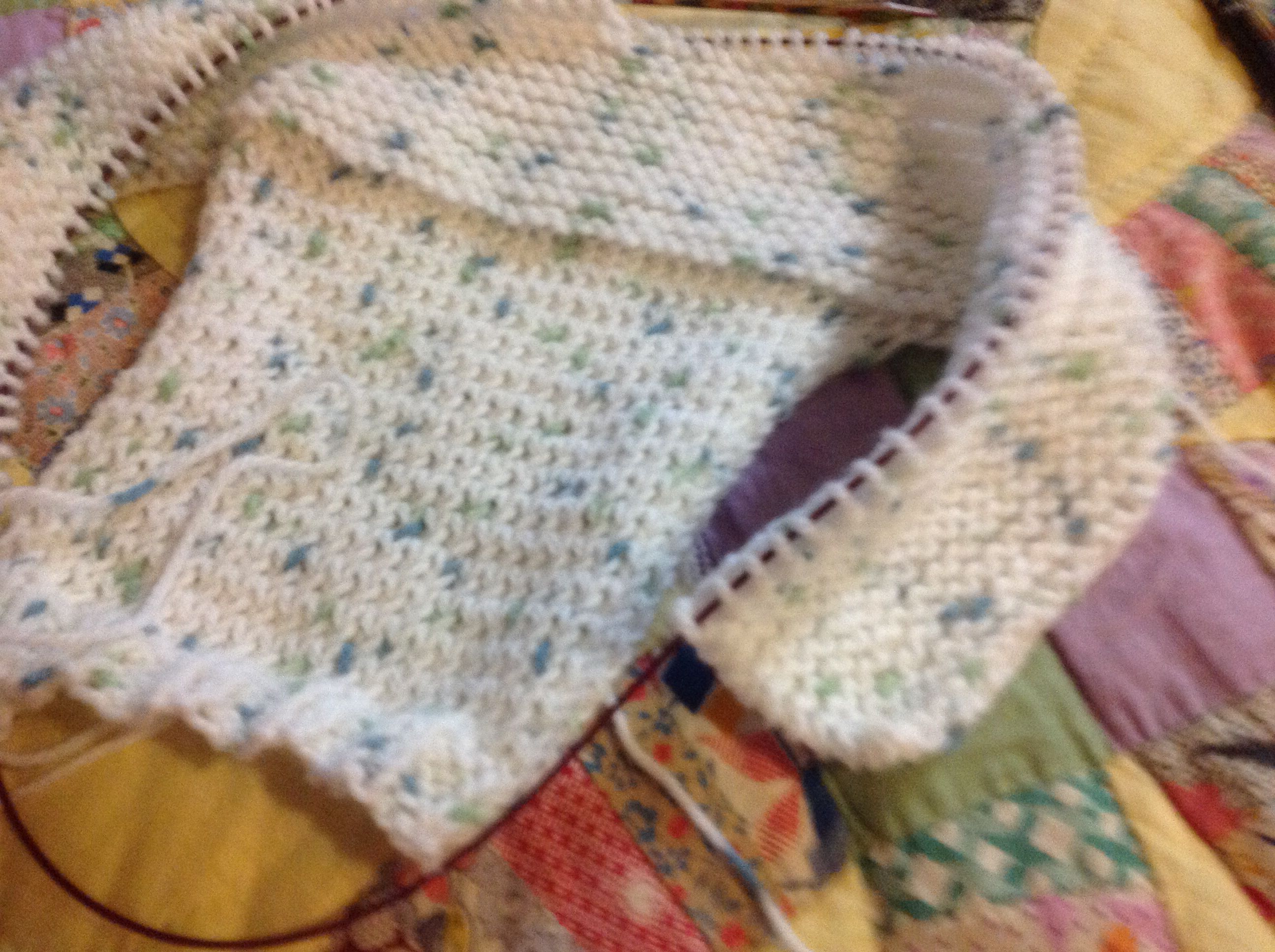Another side to side sweater, this one with stocking stitch sleeves and green hoody