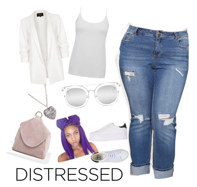 """Distressed"" by sunnyblite ❤ liked on Polyvore featuring River Island, M&Co, ASOS, Jeffrey Campbell, Quay, plus, plussize and plussizefashion"