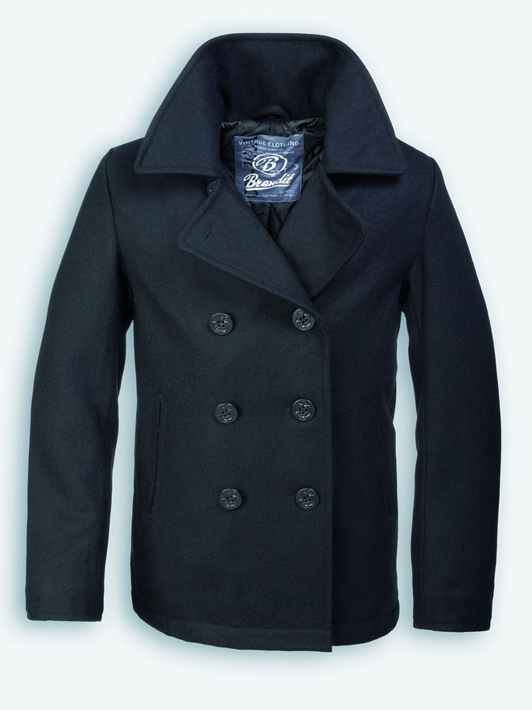 19a3a560b21f0 VINTAGE NAVY PEA COAT MENS CLASSIC ARMY REEFER JACKET BRANDIT BLACK S-2XL  in Clothes