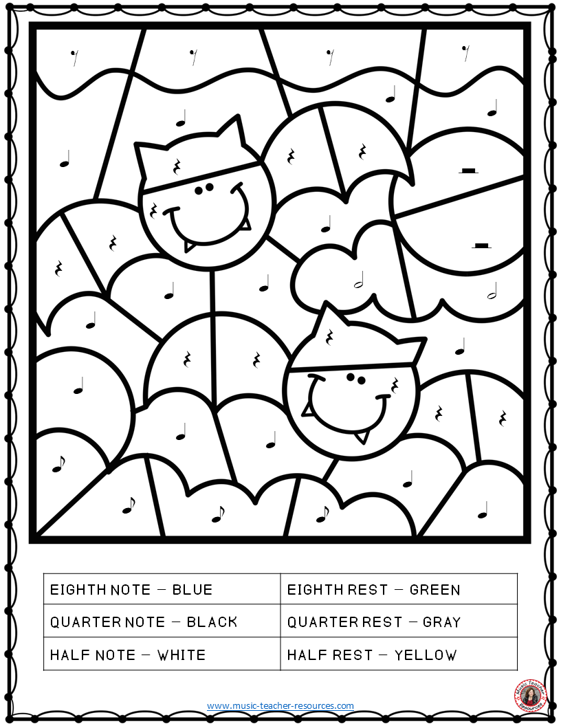 music symbol coloring pages | Music Coloring Pages: 26 Halloween Music Coloring Sheets ...