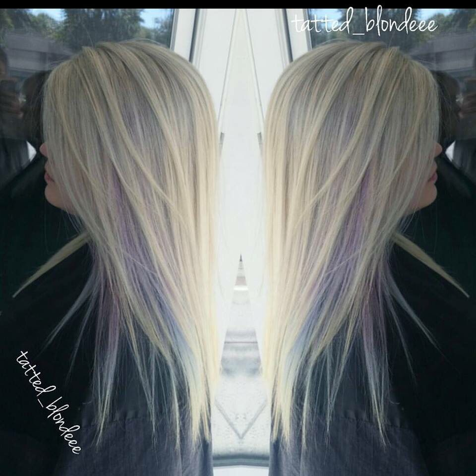 Silver Blonde Hair With A Peekaboo Purple Teal From The Chair Or Amber Myrtle Beach Sc Silverhair Blonde Silver Blonde Hair Ice Blonde Hair Silver Blonde