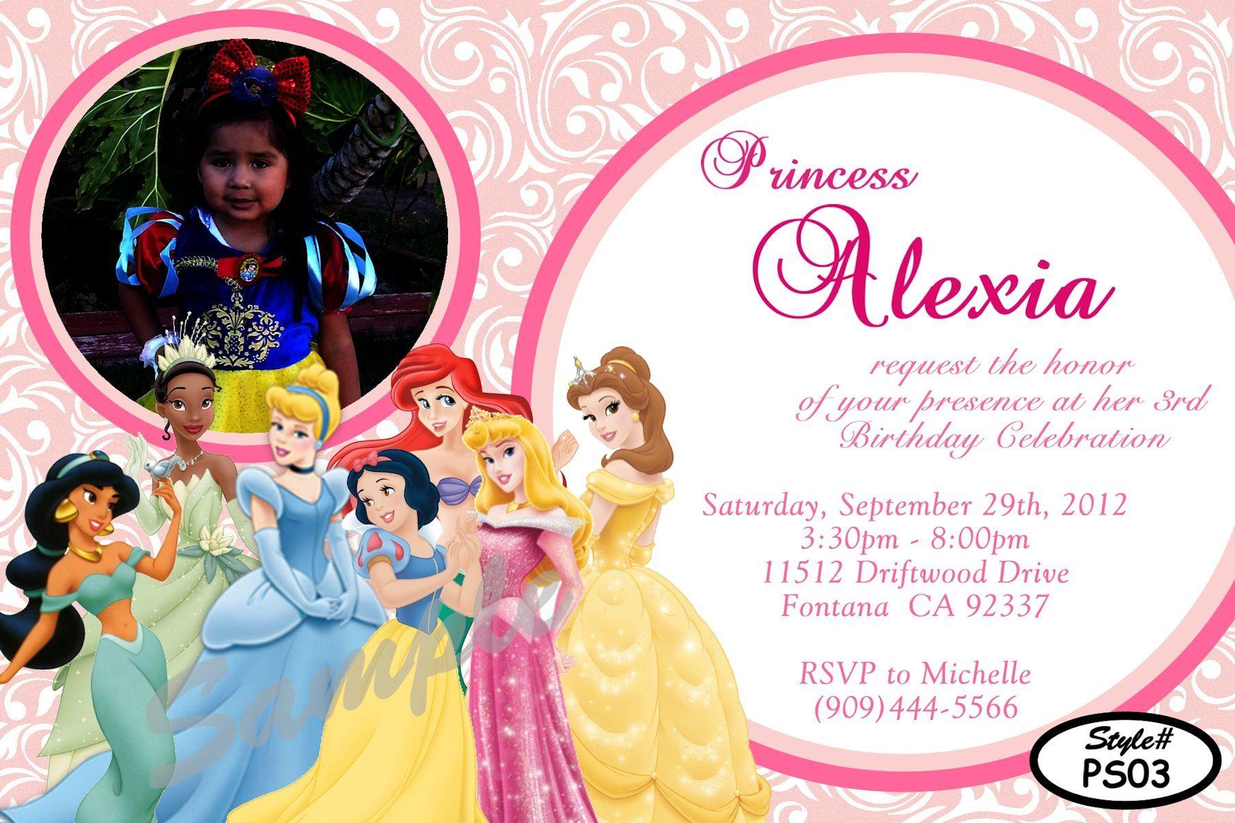 Disney Toddler Princesses Birthday Invitation Digital and printable ...