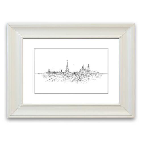 Eiffelturm über der Stadt 11' gerahmte Zeichnung East Urban Home Größe: 70 cm H x 93 cm B x H x 93 cm B, Rahmenoptionen: Weiß #eiffeltower