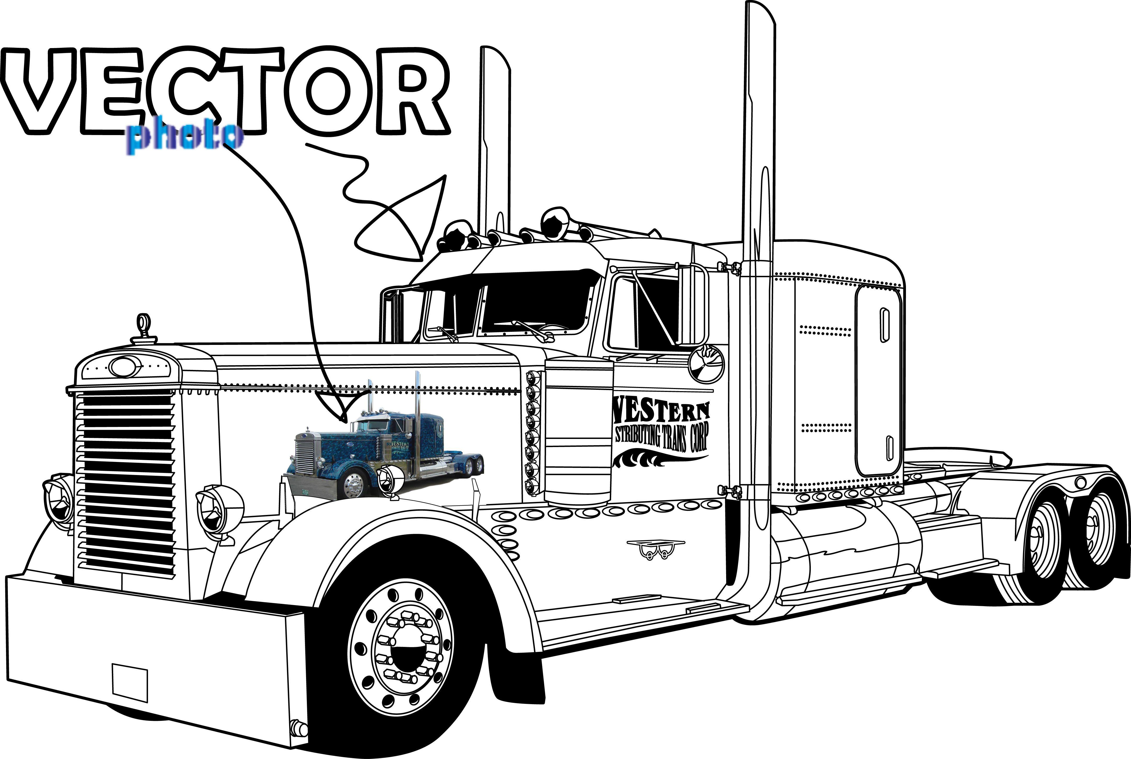 Peterbilt 379 Truck Clipart Clipart Kid Truck Coloring Pages Custom Peterbilt Peterbilt Trucks