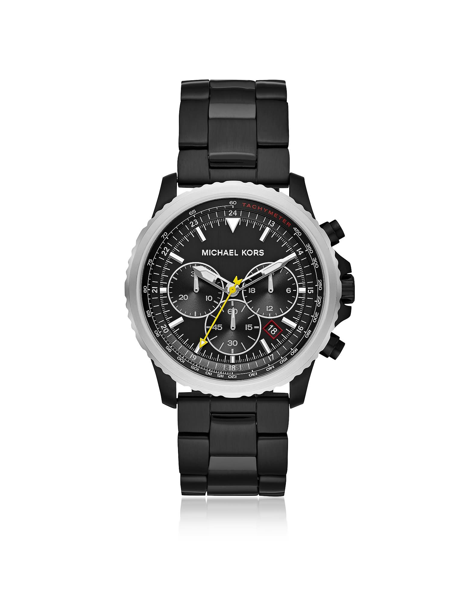 f4feebcd5a8c MICHAEL KORS THEROUX BLACK PLATED CHRONOGRAPH WATCH.  michaelkors ...