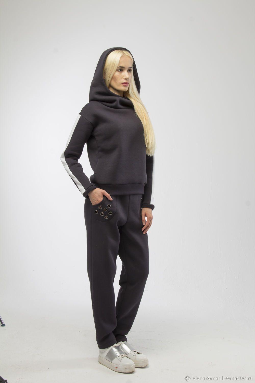 112dea9c Купить Костюм спортивный теплый толстовка с капюшоном и брюки -  темно-серый, костюм женский