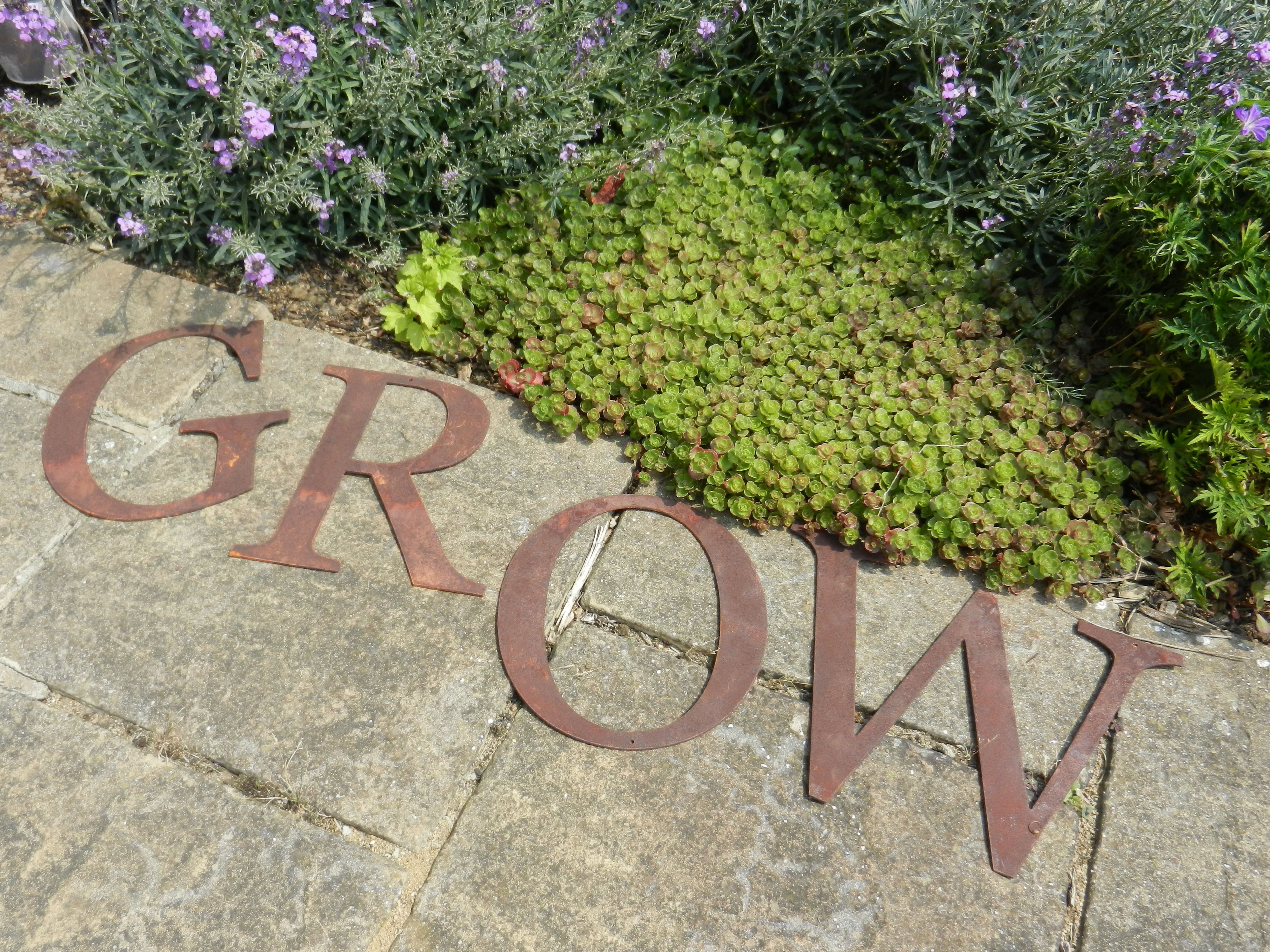 Rusty metal GROW letters by Rusty Rooster - British Handmade rusty ...