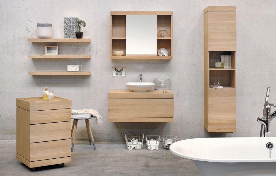 Le bois du0027ETHNICRAFT envahit votre salle de bains ! Sdb - petit meuble salle de bain pas cher
