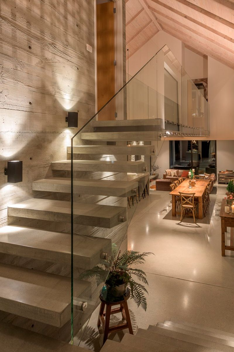 The use of concrete local schist stone and cedar delivers a contemporary architecture that is warm tactile and perfectly complements this amazingly