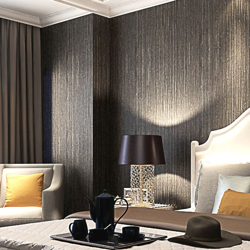 Metallic Faux Grasscloth Wallpaper Dark Brown Vinyl