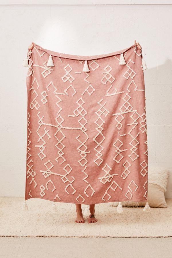 Geo Tufted Tassel Throw Blanket Boho Throw Blanket Throw Blanket Apartment Decorating College Bedroom