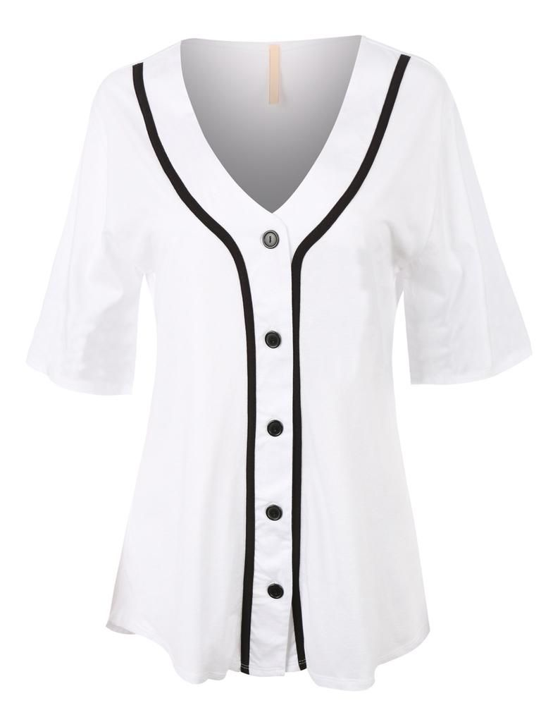 647a946d Ladies, no need to borrow your man's jersey to the games anymore. This  oversized button down short sleeve baseball tunic shirt is both comfortable  and cute.