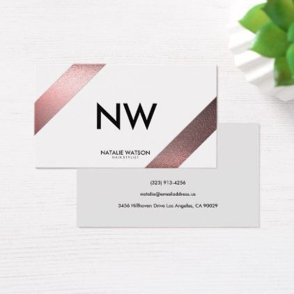 Hairstylist businesscards chic rough faux metal diagonal lines hairstylist businesscards chic rough faux metal diagonal lines white modern business card reheart Gallery