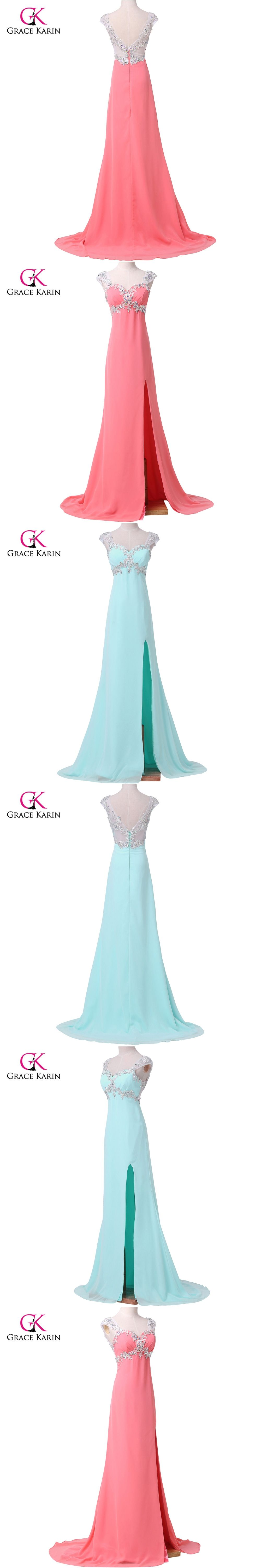Long evening dresses grace karin new arrival ruched coral light