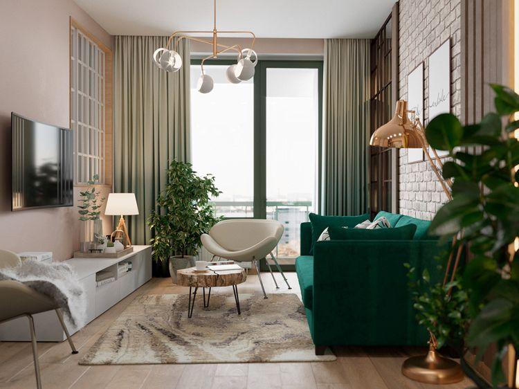 Rose Grün Wohnzimmer kombinieren Holzboden #interiors #design - Wohnzimmer Design Grun