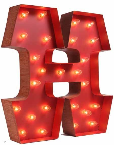 Lighted Carnival Letter H