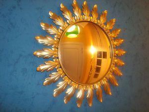 459. Belgian sunburst mirror convex - gild metal - vintage 60-70 - miroir soleil