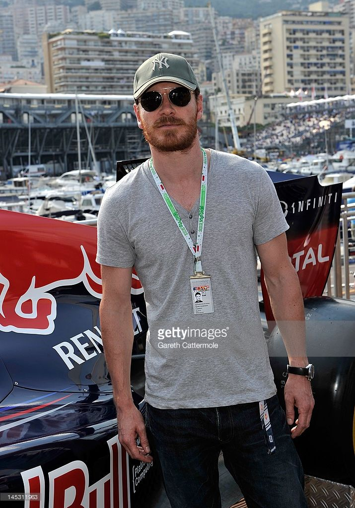 Michael Fassbender on the Red Bull Energy Station during qualifying for the Monaco Formula One Grand Prix at the Monte Carlo Circuit on May 26, 2012 in Monte Carlo, Monaco.