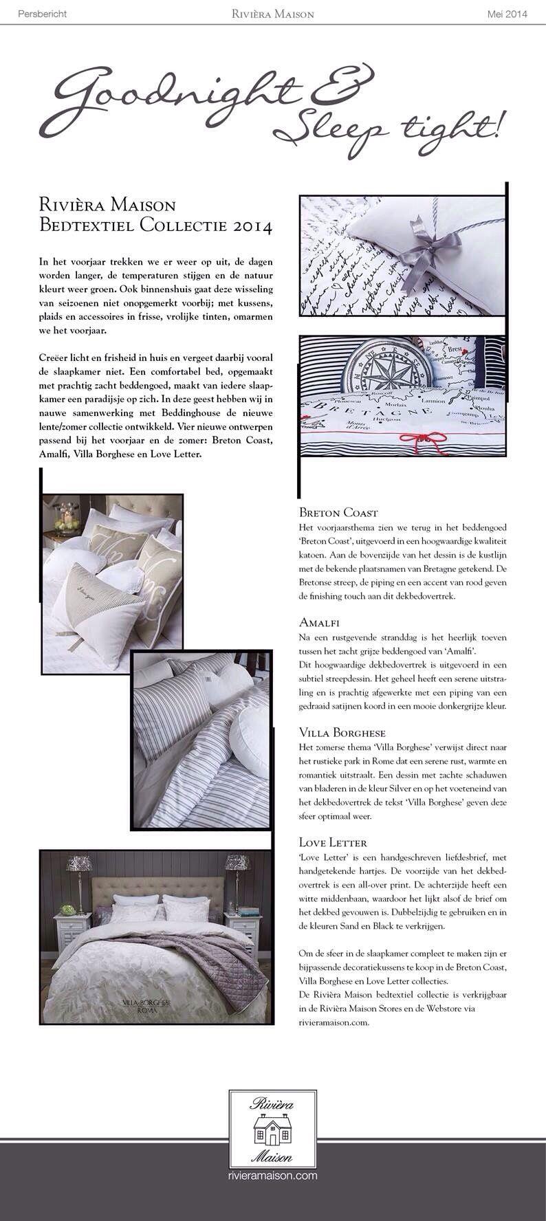 Riviera Maison Persbericht nieuwe collectie beddinghouse!