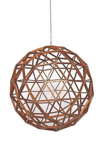 Wood Geometric Sphere Sculpture