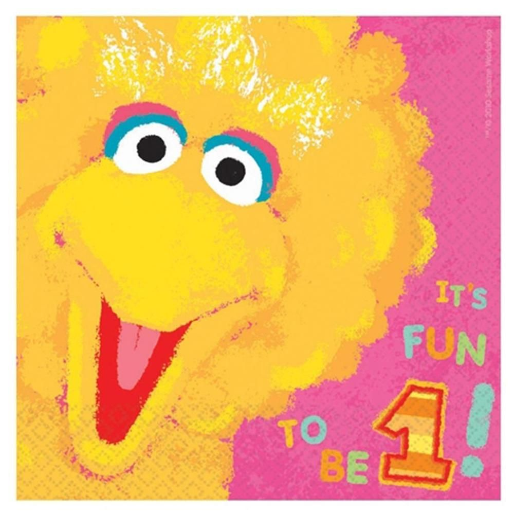 Details About Sesame Street 1st Birthday Lunch Napkins 36