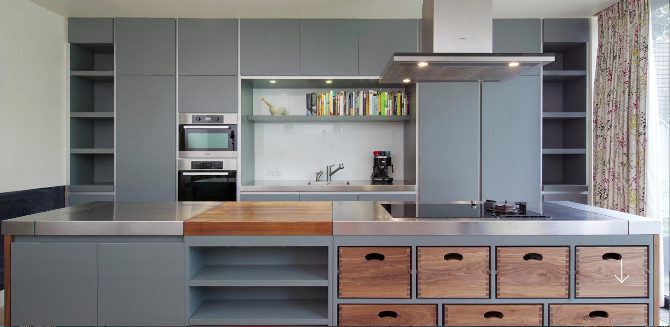 We Love The Stainless Steel Work Top Next To The Matte Grey Kitchen - Matte grey kitchen
