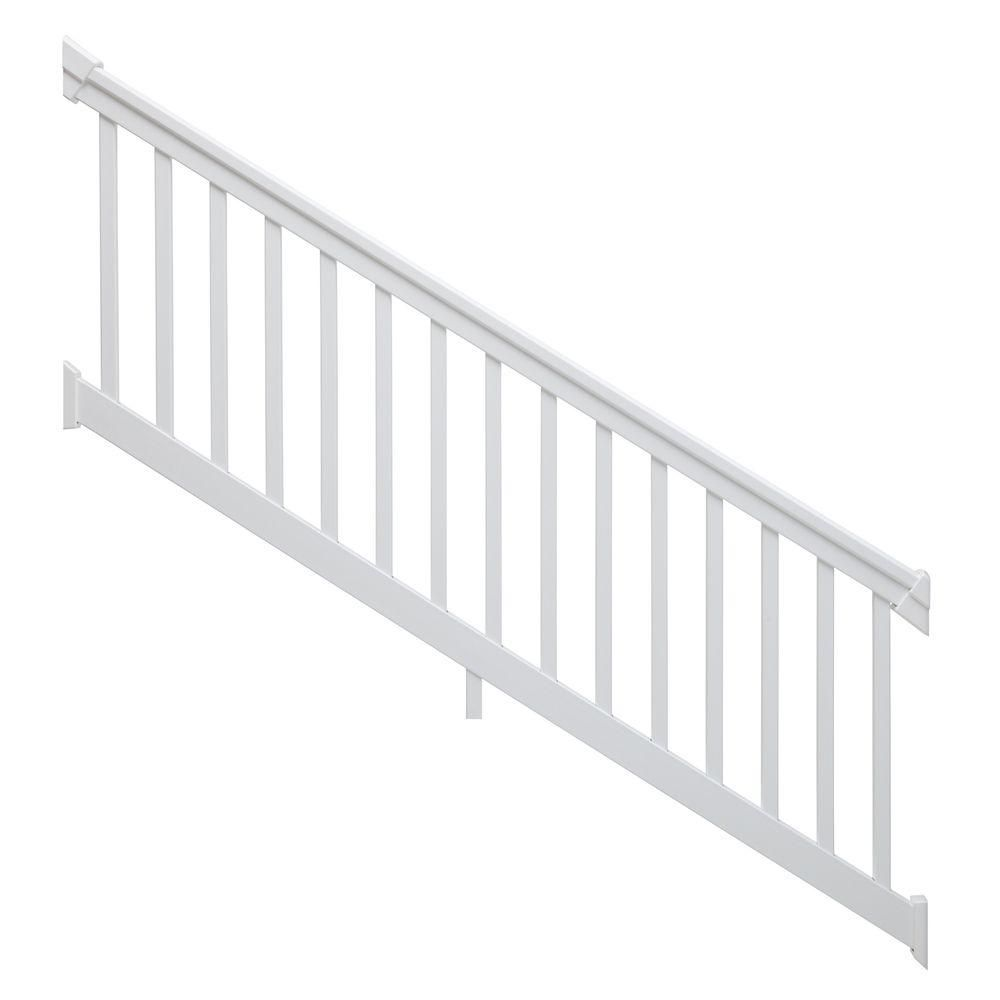 8 Ft X 42 In 36 Degree To 41 Degree Pvc White Stair Rail Kit With Square Balusters Stair Railing White Stairs Stairs
