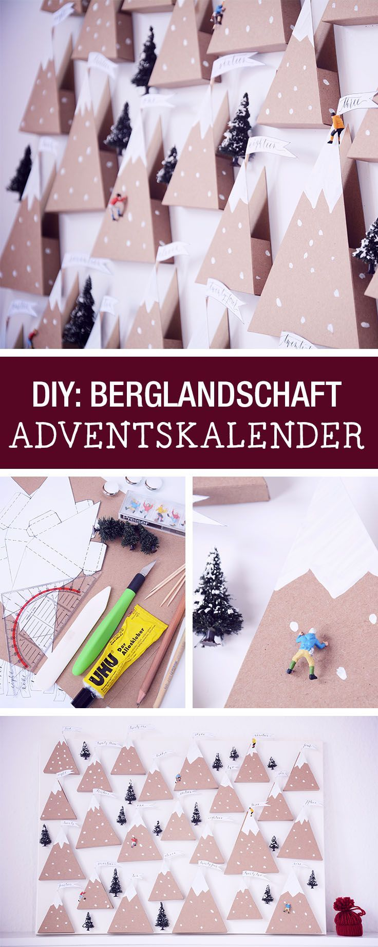 DIY-Anleitung für einen Adventskalender in Form einer Berglandschat / advents calendar for mountain lovers, get the tutorial via DaWanda.com #calendrierdel#39;aventdiy