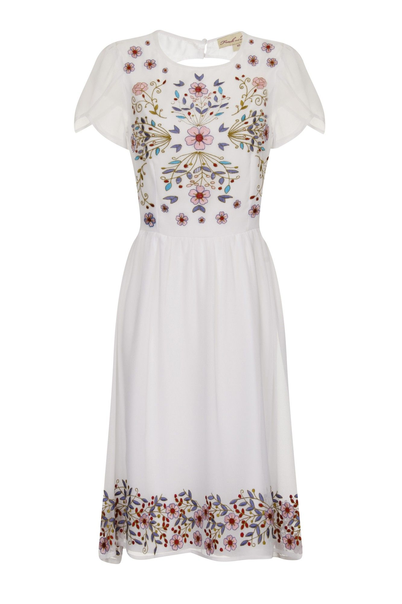 Rebecca Floral White Skater Dress