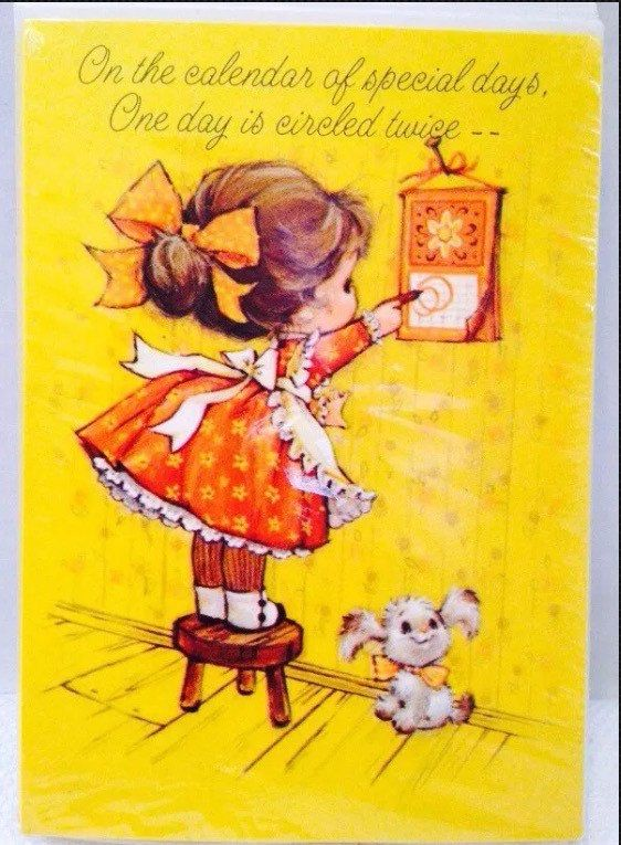 Vintage Hallmark Sealed Set Birthday Cards Envelopes On The Calendar Of Special Days One Day Is Circled Twice Little Girl Puppy Vintage Birthday Cards Card Drawing Card Art