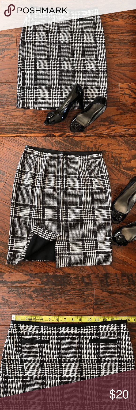 21c29af538 Sz 6P: Talbots Plaid Skirt w/ Faux Leather Trim Timeless houndstooth plaid  in black and white - shell is rayon/nylon mix with spandex for perfect fit.