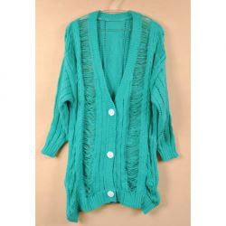 $14.46 Exquisite Shawl Collar Bright Solid Color Openwork Tassels Design Long Sleeves Plus Size Cardigan For Women