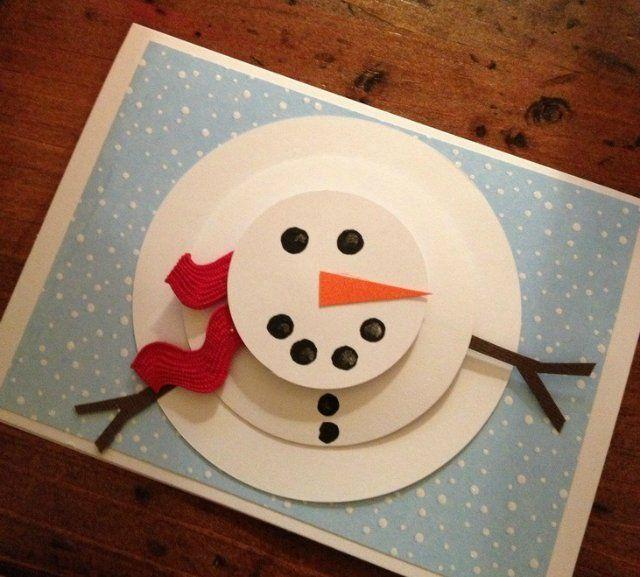 Как сделать новогоднюю открытку из бумаги с снеговиком
