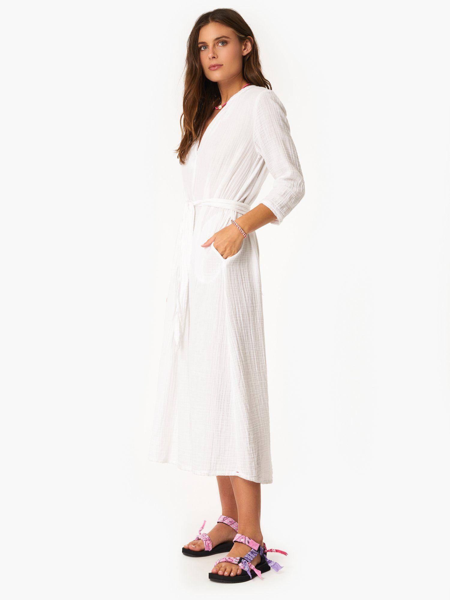 White Joni Dress Midi Dress With Sleeves Cotton Gauze Dress Dresses [ 2000 x 1500 Pixel ]