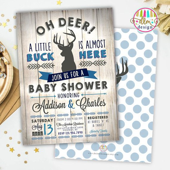 rustic deer baby diaper raffle tickets, navy and burlap, gray, Baby shower invitations